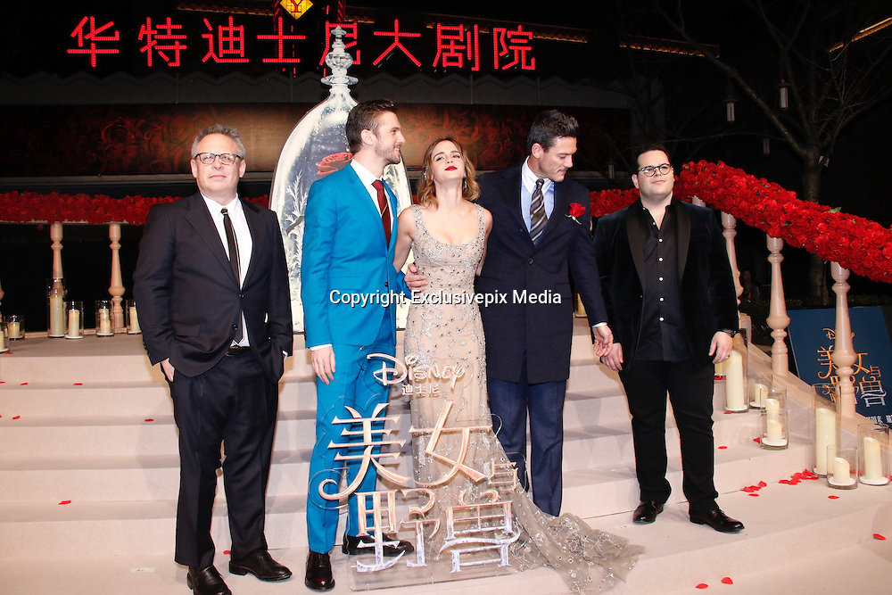 SHANGHAI, CHINA - FEBRUARY 27: <br /> <br />  (L-R) American director Bill Condon, British actor Dan Stevens, British actress Emma Watson, Welsh actor and singer Luke Evans, American actor and comedian Josh Gad attend the premiere of \'s film \&quot;Beauty and the Beast\&quot; at Walt Disney Theatre on February 27, 2017 in Shanghai, China. <br /> &copy;Exclusivepix Media