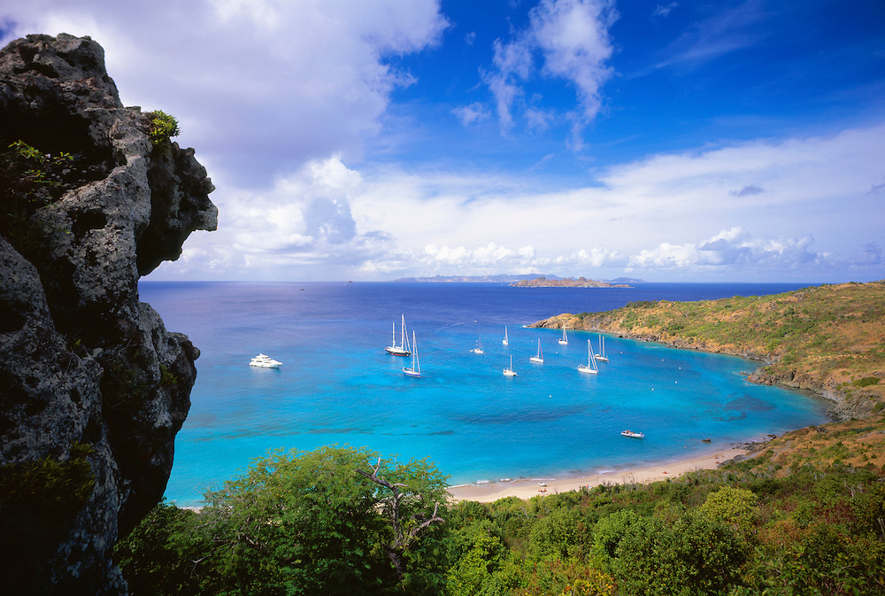 6208-1007 ~ Copyright: George H. H. Huey ~ St. Barts. Anse du Colombier with boats at anchor. Marine Reserve. Access by boat or 30 minute hike only.  Island of St. Barts, Leeward Islands, Lesser Antilles, Caribbean.
