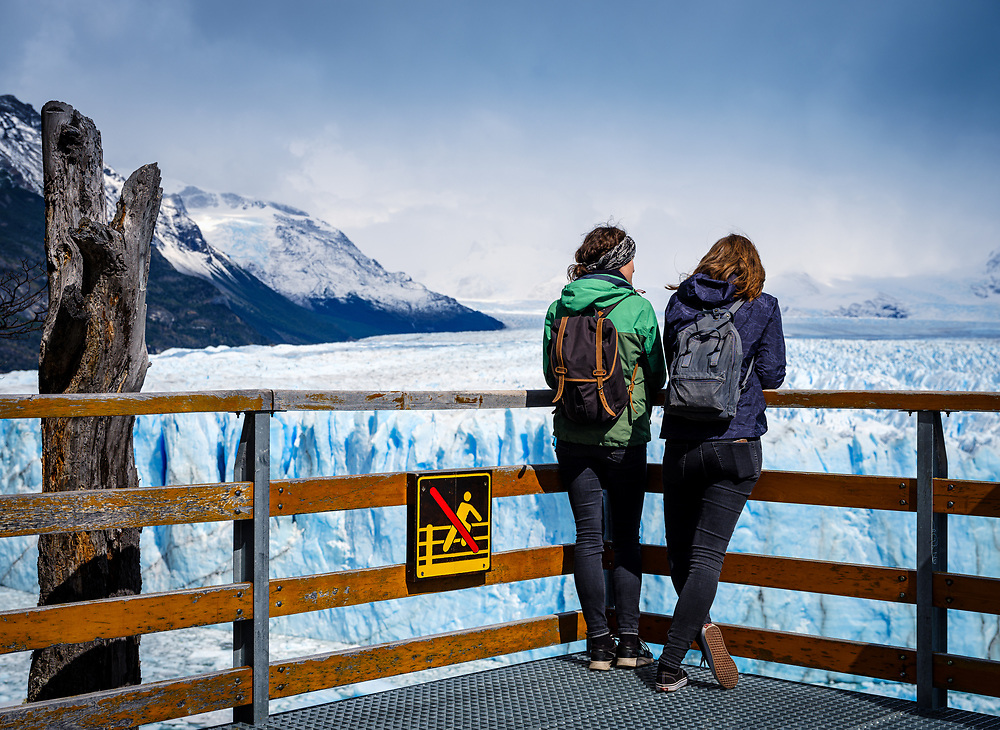 NATIONAL PARK LOS GLACIARES, ARGENTINA - CIRCA FEBRUARY 2019: Tourist looking over a viewpoint in the Los Glaciares National Park.