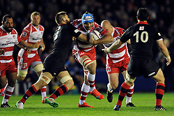 Mariano Galarza of Gloucester Rugby takes on the Edinburgh defence - Photo mandatory by-line: Patrick Khachfe/JMP - Mobile: 07966 386802 01/05/2015 - SPORT - RUGBY UNION - London - The Twickenham Stoop - Edinburgh Rugby v Gloucester Rugby - European Rugby Challenge Cup Final
