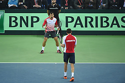 Croatians players Ivan Dodig and Marin Cilic defeat Argentinans players Juan Martin Del Potro and Leonardo Mayer during the double match at the Davis Cup final tie between Croatia and Argentina at the Arena, Zagreb, Croatia on november, 26, 2016. Photo by Corinne Dubreuil/ABACAPRESS.COM