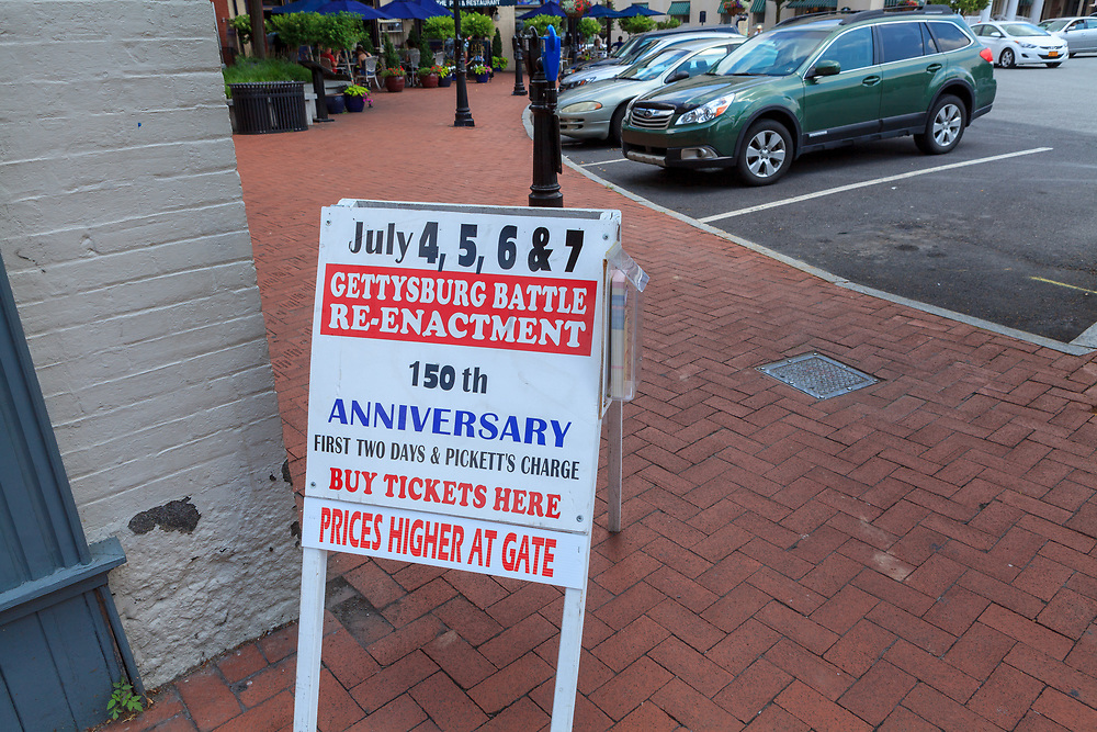 Gettysburg, PA, USA - June 30, 2013:  A sign offering tickets to the Battle Reenactment in Gettysburg.