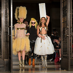 © Licensed to London News Pictures. 14/09/2018. LONDON, UK.  Pam Hogg (C) with models after her presentation during Fashion Scout SS19, an off schedule show at Freemasons Hall in Covent Garden, on the opening day of London Fashion Week.  Photo credit: Stephen Chung/LNP