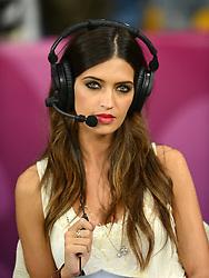 FUSSBALL  EUROPAMEISTERSCHAFT 2012   FINALE Spanien - Italien            01.07.2012 TV-Moderatorin Sara Carbonero (Verlobte Torwart Iker Casillas)