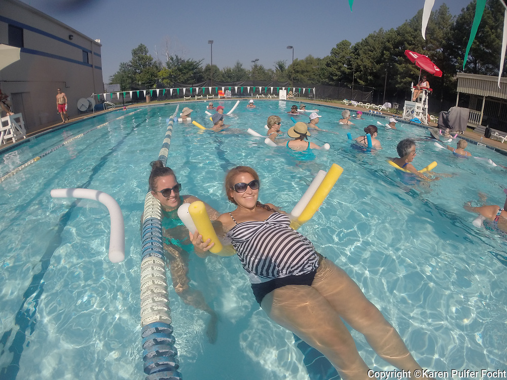 An expecting mother uses Water Aerobics is a healthy way to exercise without injury. Many people also use the pool as a gentle exercise, using the resistance of the water to tone their bodies.
