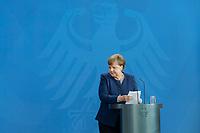 20 MAY 2020, BERLIN/GERMANY:<br /> Angela Merkel, CDU, Budneskanzlerin, nach einem Pressestatement zur vorangegangenen Videokonferenz mit den mit den Vorsitzenden internationaler Wirtschafts- und <br /> Finanzorganisationen, Bundeskanzleramt<br /> IMAGE: 20200520-01-017<br /> KEYWORDS: Pressekonferenz
