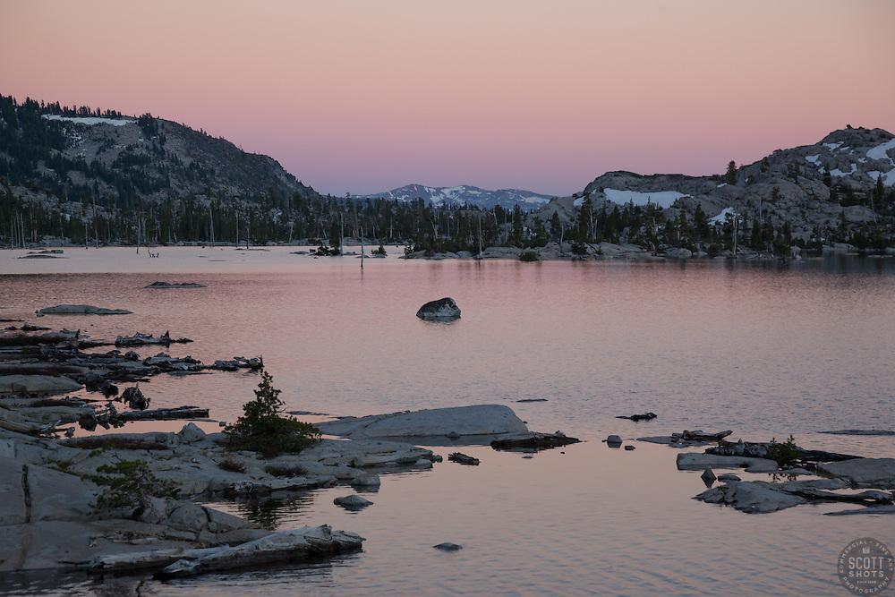 """Lake Aloha Sunset 3"" - Photograph at sunset of Lake Aloha located in the Tahoe Desolation Wilderness."