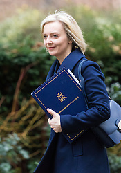 Downing Street, London, February 21st 2017. Justice Secretary and Lord Chancellor Liz Truss attends the weekly cabinet meeting at 10 Downing Street in London.