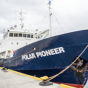 The Polar Pioneer, the flag ship of Aurora Expeditions, docked at Ushuaia in southern Argentina. Built in Finland in 1982 and registered in St Petersburg, Russia, she is an ice-strengthened research and cruise ship nearly 72 metres long.