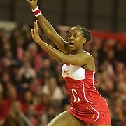 Sasha Corbin, England, in action during the New Zealand V England, New World International Netball Series, at the ILT Velodrome, Invercargill, New Zealand. 6th October 2011. Photo Tim Clayton...