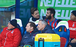 LONDON, ENGLAND - Saturday, February 21, 2015: Crystal Palace's substitute goalkeeper Wayne Hennessey and Joe Ledley on the bench during the Premier League match against Arsenal at Selhurst Park. (Pic by David Rawcliffe/Propaganda)