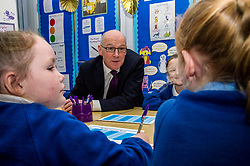 Pictured: John Swinney met up with some Primary four pupils.<br /> Today Deputy First Minister John Swinney visited Niddrie Mill Primary School to announce the publication of Scottish school statistics such as teacher numbers, ratios and class sizes. <br /> <br /> <br /> Ger Harley | EEm 12 December 2017