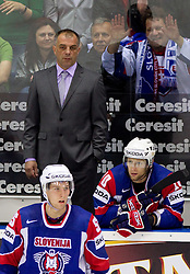 Matjaz Kopitar, head coach, Robert Sabolic and Mitja Sivic of Slovenia during ice-hockey match between Slovakia and Slovenia of Group A of IIHF 2011 World Championship Slovakia, on April 29, 2011 in Orange Arena, Bratislava, Slovakia. Slovakia defeated Slovenia 3-1. (Photo By Vid Ponikvar / Sportida.com)
