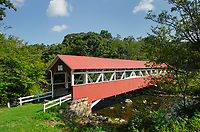 Barronvale Covered Bridge. Spanning Laurel Hill Creek. Laurel Highlands, Somerset County  Pennsylvania