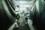 Vermont waits to take the ice during the men's hockey game between the Vermont Catamounts and the Quinnipiac Bobcats in the championship game of the Friendship Four hockey tournament at the SSE Arena on Saturday evening November 26, 2016 in Belfast, Ireland. (BRIAN JENKINS/for the FREE PRESS)