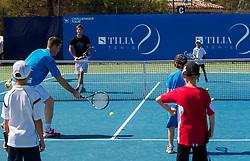 Gregor Krusic and Aljaz Bedene of Slovenia at Kids day during Day Five of tennis tournament ATP Challenger Tilia Slovenia Open 2013 on July 6, 2013 in SRC Marina, Portoroz / Portorose, Slovenia. (Photo by Vid Ponikvar / Sportida.com)