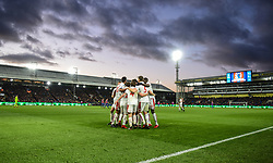 """The players of Stoke City celebrate with Xherdan Shaqiri after he scores their opening goal during the Premier League match at the Selhurst Park, London. PRESS ASSOCIATION Photo. Picture date: Saturday November 25, 2017. See PA story SOCCER West Ham. Photo credit should read: Daniel Hambury/PA Wire. RESTRICTIONS: EDITORIAL USE ONLY No use with unauthorised audio, video, data, fixture lists, club/league logos or """"live"""" services. Online in-match use limited to 75 images, no video emulation. No use in betting, games or single club/league/player publications."""