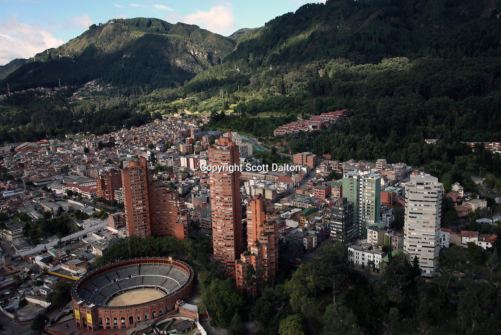 A view of La Macarena neighborhood that is wedged between the bullring and the Andean mountains in Bogotá, Colombia on Sunday, July 12, 2009. La Macarena has slowly been transforming from a rough neighborhood into a trendy hangout for locals and expats. (Photo/Scott Dalton)