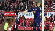 Alan McGregor prepares his wall for the Brentford freekick during the Sky Bet Championship match between Brentford and Hull City at Griffin Park, London, England on 3 November 2015. Photo by Michael Hulf.