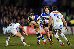 Henry Thomas of Bath Rugby takes on the Sale Sharks defence - Photo mandatory by-line: Patrick Khachfe/JMP - Mobile: 07966 386802 06/03/2015 - SPORT - RUGBY UNION - Bath - The Recreation Ground - Bath Rugby v Sale Sharks - Aviva Premiership