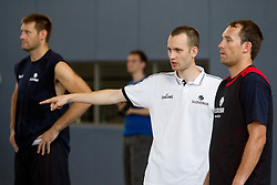 Goran Jagodnik, Gasper Potocnik and Samo Udrih during media day at training camp of Slovenian National Basketball team for Eurobasket Lithuania 2011, on July 19, 2011, in Arena Ljudski vrt, Ptuj, Slovenia.  (Photo by Vid Ponikvar / Sportida)