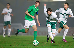 Gareth McAuley of Northern Ireland vs Milivoje Novakovic of Slovenia during EURO 2012 Quaifications game between National teams of Slovenia and Northern Ireland, on March 29, 2011, in Windsor Park Stadium, Belfast, Northern Ireland, United Kingdom. (Photo by Vid Ponikvar / Sportida)