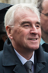 London, UK. 12 November, 2019. John McDonnell, Shadow Chancellor and Labour PPC for Hayes and Harlington, prepares to address McDonald's workers belonging to the Bakers Food & Allied Workers Union (BFAWU) assembled opposite Downing Street during strike action, dubbed a 'McStrike', to call for a New Deal for McDonald's Workers which would include £15 an hour, an end to youth rates, the choice of guaranteed hours of up to 40 hours a week, notice of shifts four weeks in advance and union recognition.