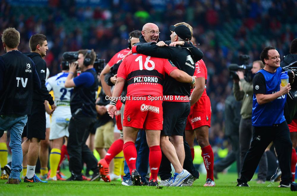Joie Toulon - Bernard LAPORTE / Jean Charles ORIOLI / Jacques DELMAS - 02.05.2015 - Clermont / Toulon - Finale European Champions Cup -Twickenham<br />Photo : Dave Winter / Icon Sport