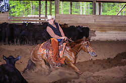 May 21, 2017 - Minshall Farm Cutting 4, held at Minshall Farms, Hillsburgh Ontario. The event was put on by the Ontario Cutting Horse Association. Riding in the 1,000 Amateur Class is Alan Garniss on Qb Tilly Highbrow Cd owned by the rider.