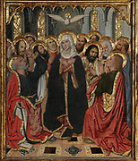 Virgin Mary with Saints and Holy Ghost, from the Life of the Virgin, on the Altarpiece of the Constable or Epiphany Altarpiece, 1464-65, by Jaume Huguet, c. 1412-92, tempera on panel, in Gothic style, commissioned by Don Pedro of Portugal, in the Royal Chapel of Santa Agatha in the Palacio Real Mayor in Barcelona, Spain. The central panel is the most important and depicts the Adoration of the Magi. The side and top panels depict the Life of the Virgin and Jesus Christ, and Saints are portrayed at the bottom. Picture by Manuel Cohen