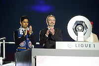 joie PSG / Nasser Al Khelaifi / Frederic Thiriez - PSG Champion - 23.05.2015 - PSG / Reims - 38eme journee de Ligue 1<br /> Photo : Andre Ferreira / Icon Sport