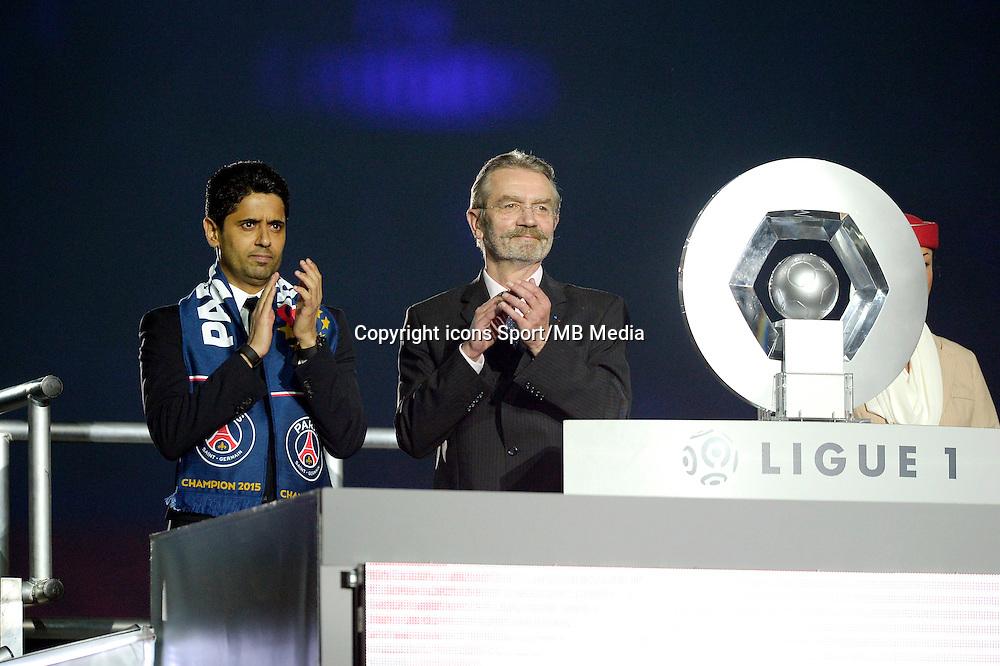 joie PSG / Nasser Al Khelaifi / Frederic Thiriez - PSG Champion - 23.05.2015 - PSG / Reims - 38eme journee de Ligue 1<br /> Photo : Andre Ferreira / Icon Sport