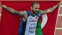 Athletics - 2017 IAAF London World Athletics Championships - Day Seven, Evening Session<br /> <br /> Mens 200m Final<br /> <br /> Ramil Guliyez (Turkey) poses with the Turkish flag  at the London Stadium<br /> <br /> COLORSPORT/DANIEL BEARHAM