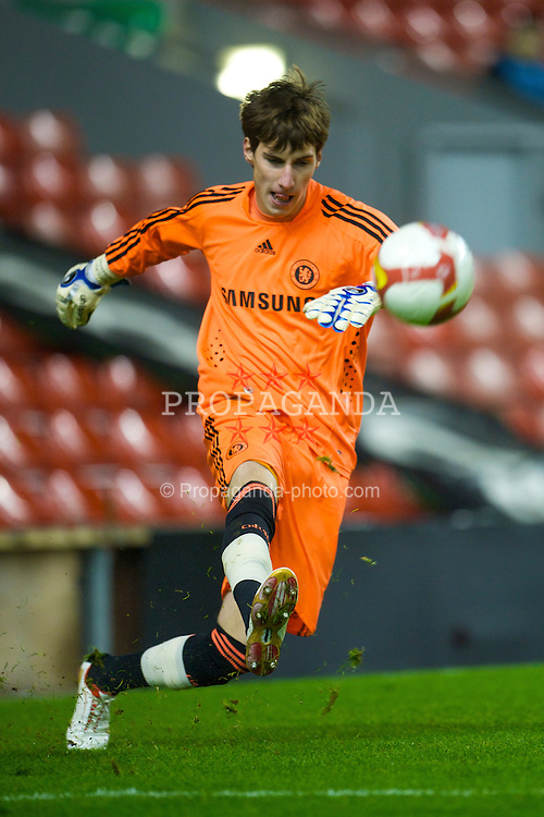 LIVERPOOL, ENGLAND - Thursday, February 5, 2009: Chelsea's goalkeeper Niclas Heimann in action against Liverpool during the FA Youth Cup 5th Round match at Anfield. (Mandatory credit: David Rawcliffe/Propaganda)