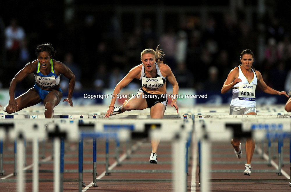 Women's 100m hurdles (L_R)<br /> Bridget Foster (JAM); Sally McLellan (AUS)<br /> and Jenny Adams (USA)<br /> 2009 IAAF World Athletics Tour<br /> Melbourne Grand Prix Meet<br /> Olympic Park, AUS/March 5th<br /> &copy; Sport the library / Jeff Crow