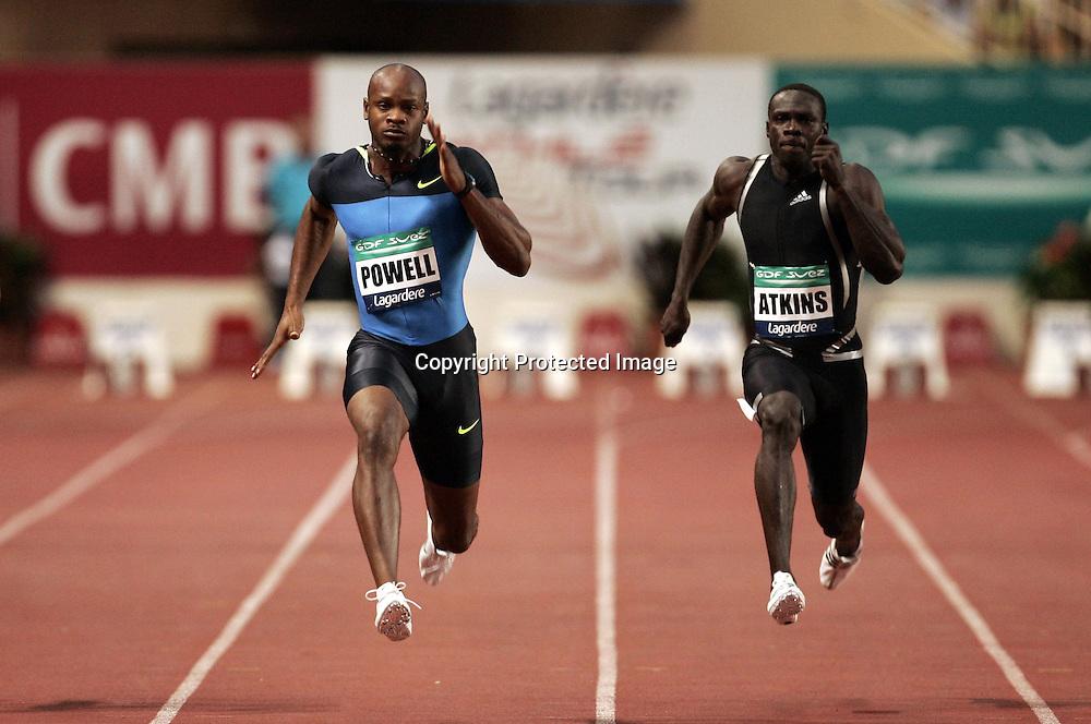 Asafa Powell (jam) et Derrick Atkins (bah) - 100m 100 m - Meeting de Herculis Monaco - 29.07.2008 - Athle Athletisme - Homme Hommes Messieurs Masculin - largeur action