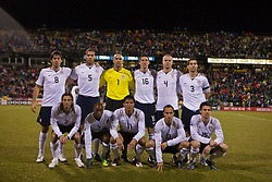 Top Row (left to right): United States forward Clint Dempsey (8), United States defender Oguchi Onyewu(5), United States goalkeeper Tim Howard (1), United States midfielder Sacha Kljestan (16), United States midfielder Michael Bradley (4), United States defender Carlos Bocanegra (3)...Bottom Row (left to right): United States defender Frankie Hejduk (2), United States midfielder DaMarcus Beasley (7), United States forward Brian Ching (11), United States midfielder Landon Donovan (10), United States defender Heath Pearce (15)...The United States men's soccer team defeated the Mexican national team 2-0 in CONCACAF final group qualifying for the 2010 World Cup at Columbus Crew Stadium in Columbus, Ohio on February 11, 2009.