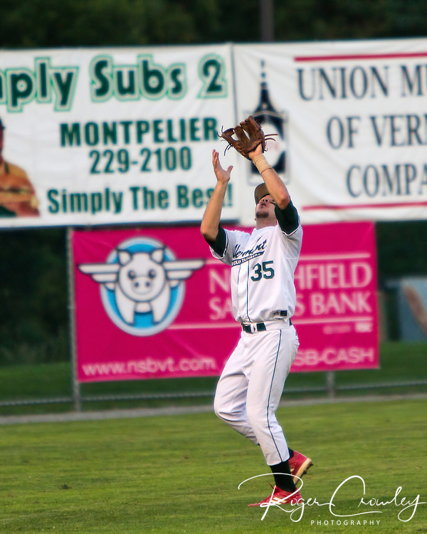 The Vermont Mountaineers defeated the Laconia Muskrats 9-3 in game one of the Northern Division semifinals in the New England Collegiate Baseball League (NECBL) playoffs.