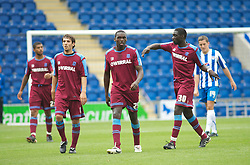 COLCHESTER, ENGLAND - Saturday, September 25, 2010: Tranmere Rovers' players look dejected as they leave the pitch trailing 3-0 against Colchester United during the League One match at the Colchester Community Stadium. (Photo by Gareth Davies/Propaganda)
