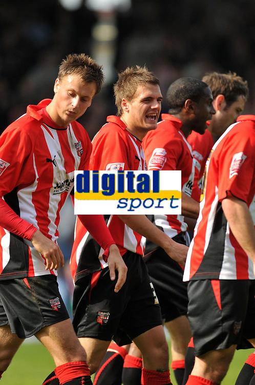 Photo: Tony Oudot/Richard Lane Photography. Brentford v Accrington Stanley . Coca-Cola Football League Two. 18/04/2009. <br /> Ryan Dickson celebrates his goal and Brentfords second