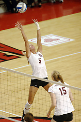 24 November 2006: Katelyn Panzau gets her whole body into a set during a Quarterfinal match between the Evansville University Purple Aces and the Missouri State University Bears.The Tournament was held at Redbird Arena on the campus of Illinois State University in Normal Illinois.<br />