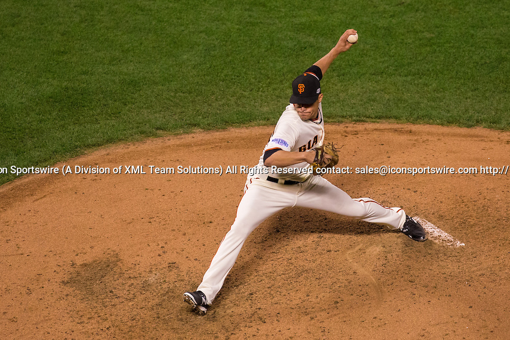 October 24, 2014: San Francisco Giants relief pitcher Javier Lopez (49) pitching in the 6th inning, during game three of the World Series between the San Francisco Giants and the Kansas City Royals at AT&T Park in San Francisco, California, USA.