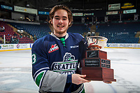 KELOWNA, CANADA - APRIL 30: Anthony Bishop #3 of the Seattle Thunderbirds stands on the ice with the Western Conference Championship cup at the Kelowna Rockets on April 30, 2017 at Prospera Place in Kelowna, British Columbia, Canada.  (Photo by Marissa Baecker/Shoot the Breeze)  *** Local Caption ***