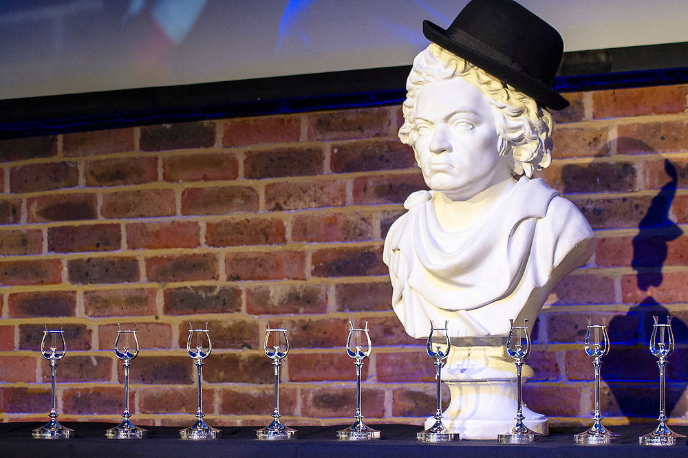 The RPS bust of Beethoven looks over proceedings at<br /> the Royal Philharmonic Society Music Awards, Wednesday 9 May<br /> The Brewery, London<br /> Photo credit required:  Simon Jay Price<br /> www.rpsmusicawards.com  #RPSMusicAwards