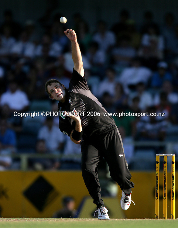 New Zealand vice captain and spin bowler Daniel Vettori during the one day international cricket match between New Zealand and England at the WACA ground in Perth on Tuesday 30 January, 2007. New Zealand won by 58 runs. Photo: Andrew Cornaga/PHOTOSPORT<br /><br /><br /><br />300107