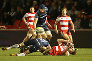 M Haley tackled during the Aviva Premiership match between Sale Sharks and Gloucester Rugby at the AJ Bell Stadium, Eccles, United Kingdom on 29 September 2017. Photo by George Franks.