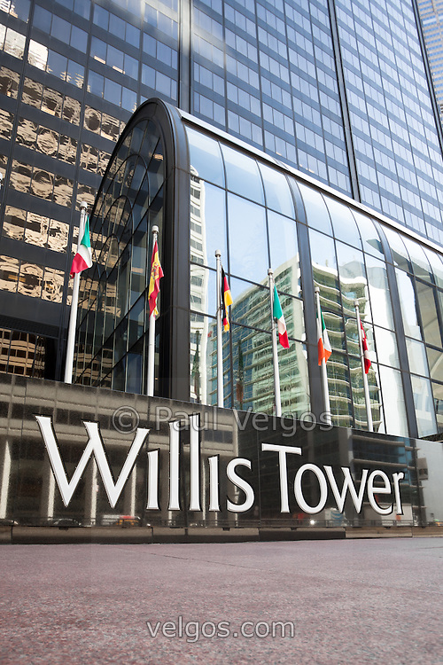 Chicago Willis Tower sign (formerly Sears Tower). Willis Tower is one of the tallest buildings in Chicago and the world.