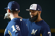 PHOENIX, AZ - JUNE 09:  Eric Thames #7 of the Milwaukee Brewers talks with Eric Sogard #18 prior to the MLB game against the Arizona Diamondbacks at Chase Field on June 9, 2017 in Phoenix, Arizona. The Milwaukee Brewers won 8-6.  (Photo by Jennifer Stewart/Getty Images)