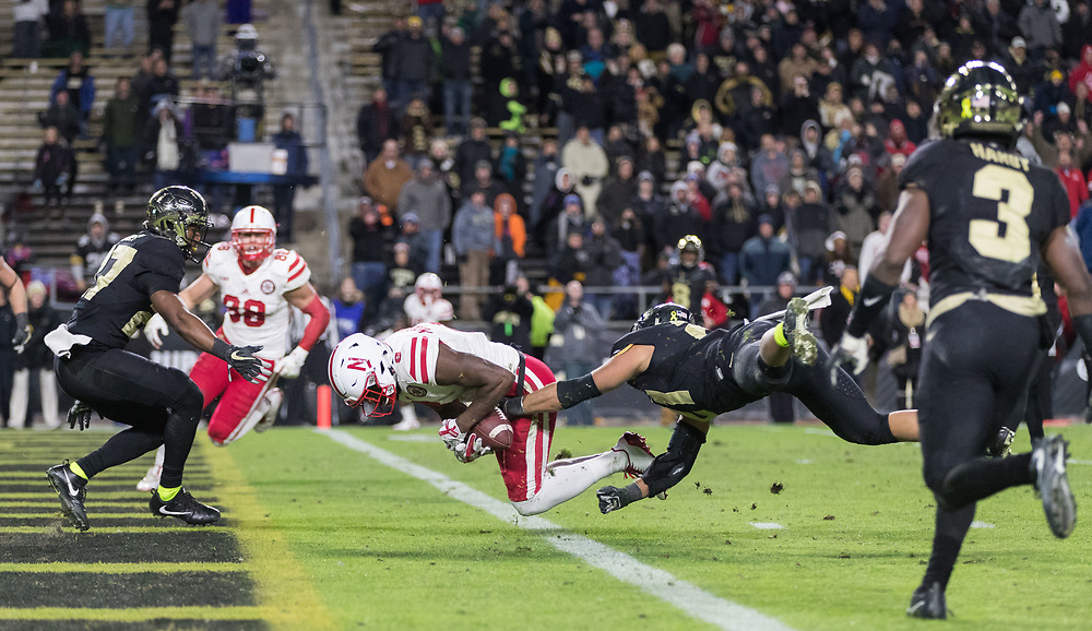Nebraska's Stanley Morgan Jr. scores the final touchdown beating Purdue's Markus Bailey. Nebraska played Purdue University in a football game Ross&ndash;Ade Stadium on Saturday, Oct. 28, 2017, in West Lafayette, Indiana. <br /> <br /> MATT DIXON/THE WORLD-HERALD
