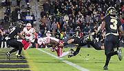 Nebraska's Stanley Morgan Jr. scores the final touchdown beating Purdue's Markus Bailey. Nebraska played Purdue University in a football game Ross&ndash;Ade Stadium on Saturday, Oct. 28, 2017, in West Lafayette, Indiana. <br /> <br /> MATT DIXON/THE WORLD-HERALD